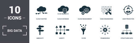 Big Data set icons collection. Includes simple elements such as Cloud Hosting, Cloud Database, Cloud Management, Code Engineering, User Prediction, Variety and Filter premium icons.