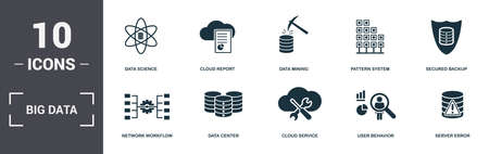 Big Data set icons collection. Includes simple elements such as Data Science, Cloud Report, Data Mining, Pattern System, Secured Backup, Data Center and Cloud Service premium icons.