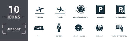 Airport set icons collection. Includes simple elements such as Takeoff, Landing, Around The World, Parking, Paid Parking, Airport Tower and Runway premium icons.