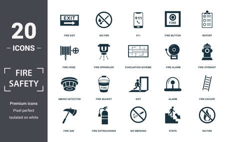Fire Safety icon set. Contain filled flat smoke detector, fire hose, escape, alarm, no fire, sprinkler, fire button icons. Editable format. Reklamní fotografie