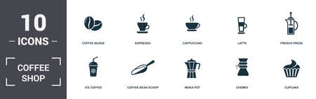 Coffe Shop set icons collection. Includes simple elements such as Coffee Beans, Espresso, Cappuccino, Latte, French Press, Coffee Bean Scoop and Moka Pot premium icons.