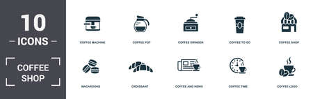 Coffe Shop set icons collection. Includes simple elements such as Coffee Machine, Pot, Coffee Grinder, Coffee To Go, Shop, Croissant and Coffee And News premium icons.