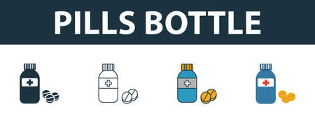 Pills Bottle icon set. Four elements in diferent styles from medicine icons collection. Creative pills bottle icons filled, outline, colored and flat symbols.