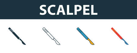 Scalpel icon set. Four elements in diferent styles from medicine icons collection. Creative scalpel icons filled, outline, colored and flat symbols. Stock Illustratie