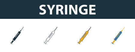 Syringe icon set. Four elements in diferent styles from medicine icons collection. Creative syringe icons filled, outline, colored and flat symbols. Иллюстрация