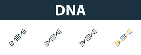 Dna icon set. Four elements in diferent styles from medicine icons collection. Creative dna icons filled, outline, colored and flat symbols.