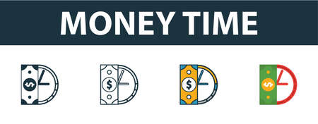Money Time icon set. Four elements in diferent styles from money icons collection. Creative money time icons filled, outline, colored and flat symbols. Иллюстрация