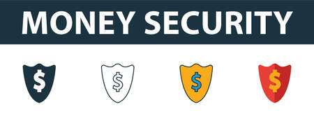 Money Security icon set. Four elements in diferent styles from money icons collection. Creative money security icons filled, outline, colored and flat symbols. Иллюстрация