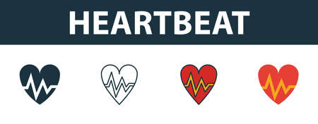 Heartbeat icon set. Four elements in diferent styles from medicine icons collection. Creative heartbeat icons filled, outline, colored and flat symbols.