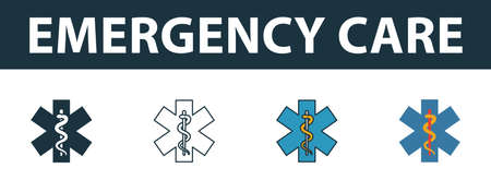 Emergency Care icon set. Four elements in diferent styles from medicine icons collection. Creative emergency care icons filled, outline, colored and flat symbols. Stock Illustratie