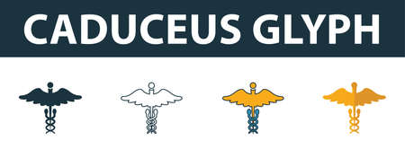 Caduceus Glyph icon set. Four elements in diferent styles from medicine icons collection. Creative caduceus glyph icons filled, outline, colored and flat symbols. Stock Illustratie