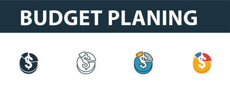 Budget Planing icon set. Four elements in diferent styles from online marketing icons collection. Creative budget planing icons filled, outline, colored and flat symbols.