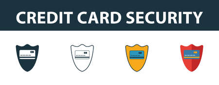 Credit Card Security icon set. Four elements in diferent styles from money icons collection. Creative credit card security icons filled, outline, colored and flat symbols.