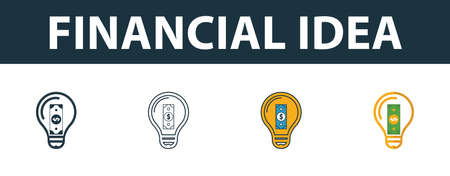 Financial Idea icon set. Four elements in diferent styles from money icons collection. Creative financial idea icons filled, outline, colored and flat symbols.