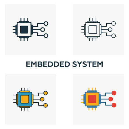 Embedded System icon set. Four elements in diferent styles from industry 4.0 icons collection. Creative embedded system icons filled, outline, colored and flat symbols.
