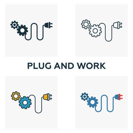 Plug And Work icon set. Four elements in diferent styles from industry 4.0 icons collection. Creative plug and work icons filled, outline, colored and flat symbols.
