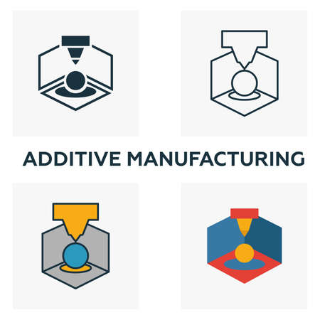 Additive Manufacturing icon set. Four elements in diferent styles from industry 4.0 icons collection. Creative additive manufacturing icons filled, outline, colored and flat symbols. Illustration