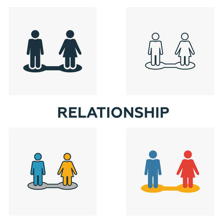 Relationship icon set. Four elements in diferent styles from human resources icons collection. Creative relationship icons filled, outline, colored and flat symbols.