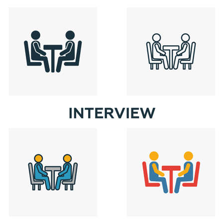 Interview icon set. Four elements in diferent styles from human resources icons collection. Creative interview icons filled, outline, colored and flat symbols.