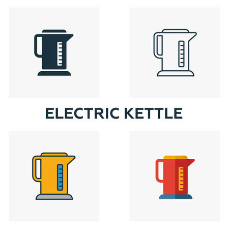 Electric Kettle icon set. Four elements in diferent styles from household icons collection. Creative electric kettle icons filled, outline, colored and flat symbols. Illustration