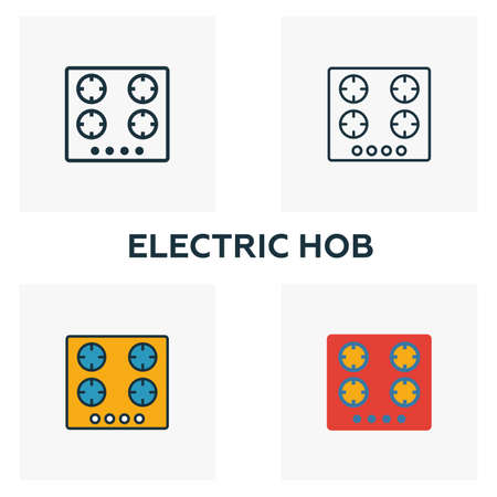 Electric Hob icon set. Four elements in diferent styles from household icons collection. Creative electric hob icons filled, outline, colored and flat symbols.
