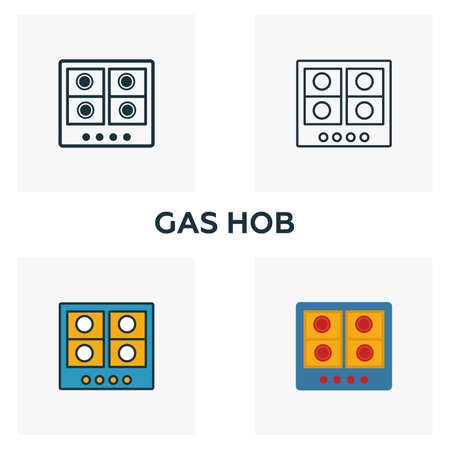 Gas Hob icon set. Four elements in diferent styles from household icons collection. Creative gas hob icons filled, outline, colored and flat symbols.