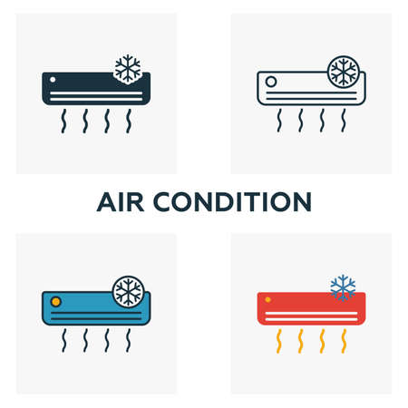 Air Condition icon set. Four elements in diferent styles from household icons collection. Creative air condition icons filled, outline, colored and flat symbols. Ilustração