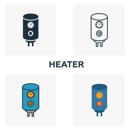 Heater icon set. Four elements in diferent styles from household icons collection. Creative heater icons filled, outline, colored and flat symbols.