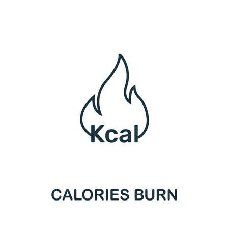 Icono de quema de calorías. Diseño de estilo de contorno fino de la colección de iconos de fitness. Icono de Creative Calories Burn para diseño web, aplicaciones, software, uso de impresión.