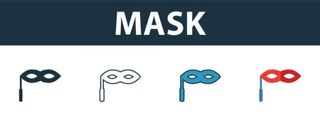 Mask icon set. Four elements in diferent styles from party icon icons collection. Creative mask icons filled, outline, colored and flat symbols.