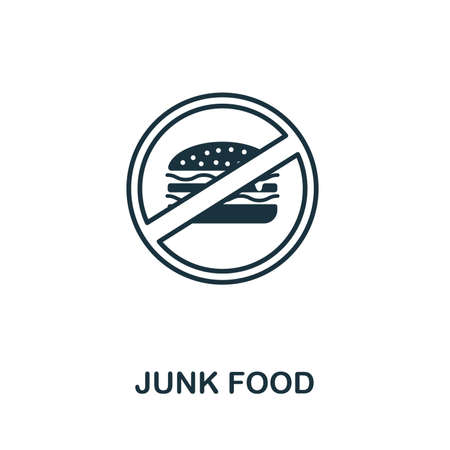Junk Food icon. Thin outline style design from fitness icons collection. Creative Junk Food icon for web design, apps, software, print usage. Ilustração