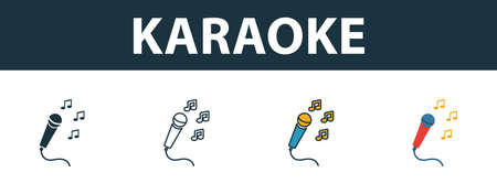 Karaoke icon set. Four elements in diferent styles from party icon icons collection. Creative karaoke icons filled, outline, colored and flat symbols.