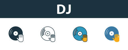 Dj icon set. Four elements in diferent styles from party icon icons collection. Creative dj icons filled, outline, colored and flat symbols.