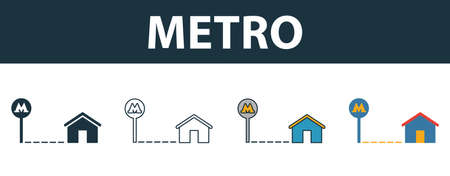 Metro icon set. Four elements in diferent styles from real estate icons collection. Creative metro icons filled, outline, colored and flat symbols.