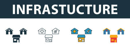 Infrastructure icon set. Four elements in diferent styles from real estate icons collection. Creative infrastructure icons filled, outline, colored and flat symbols.
