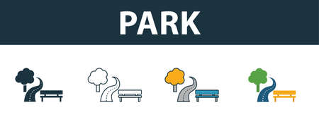 Park icon set. Four elements in diferent styles from real estate icons collection. Creative park icons filled, outline, colored and flat symbols.