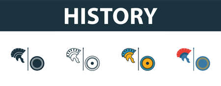History icon set. Four elements in diferent styles from school icons collection. Creative history icons filled, outline, colored and flat symbols.