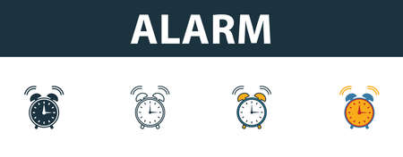 Alarm icon set. Four elements in diferent styles from school icons collection. Creative alarm icons filled, outline, colored and flat symbols.