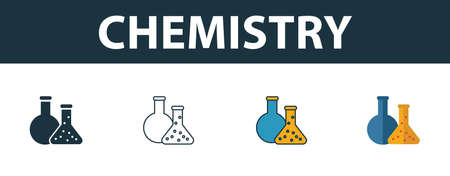 Chemistry icon set. Four elements in diferent styles from school icons collection. Creative chemistry icons filled, outline, colored and flat symbols.