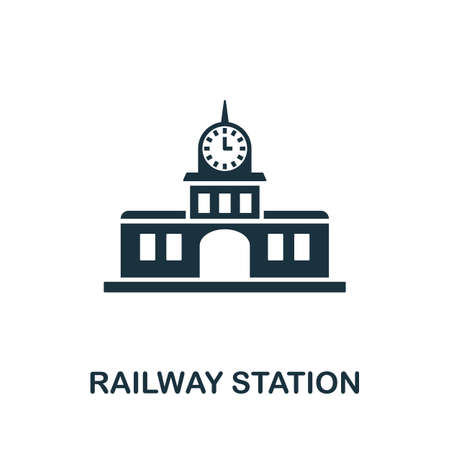Railway Station icon vector illustration. Creative sign from buildings icons collection. Filled flat Railway Station icon for computer and mobile. Symbol,   vector graphics.