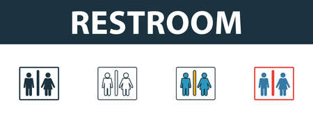 Restroom icon. Thin line outline style from shopping center sign icons collection. Premium restroom icon for design, apps, software and more.