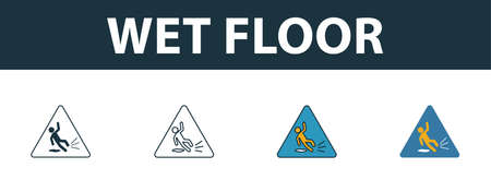 Wet Floor icon. Thin line outline style from shopping center sign icons collection. Premium wet floor icon for design, apps, software and more. Vectores
