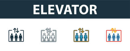 Elevator icon. Thin line outline style from shopping center sign icons collection. Premium elevator icon for design, apps, software and more.