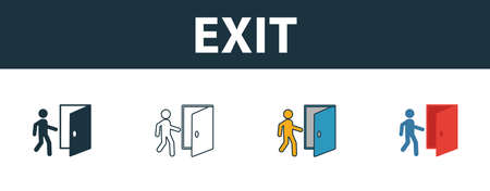 Exit icon. Thin line outline style from shopping center sign icons collection. Premium exit icon for design, apps, software and more. Çizim