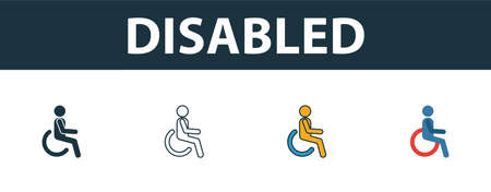 Disabled icon. Thin line outline style from shopping center sign icons collection. Premium disabled icon for design, apps, software and more. Ilustração