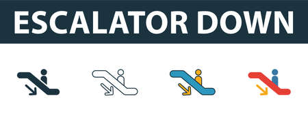 Escalator Down icon. Thin line outline style from shopping center sign icons collection. Premium escalator down icon for design, apps, software and more. Çizim