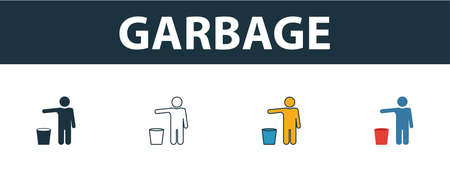 Garbage icon. Thin line outline style from shopping center sign icons collection. Premium garbage icon for design, apps, software and more.