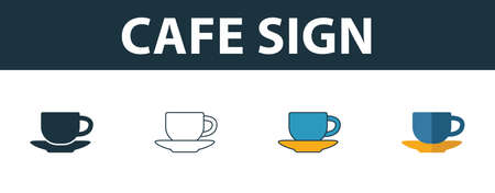 Cafe Sign icon. Thin line outline style from shopping center sign icons collection. Premium cafe sign icon for design, apps, software and more.