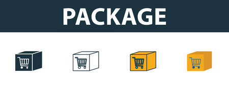 Package icon. Thin line outline style from shopping center sign icons collection. Premium package icon for design, apps, software and more.