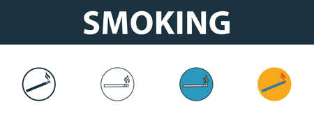 Smoking icon. Thin line outline style from shopping center sign icons collection. Premium smoking icon for design, apps, software and more.